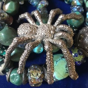 Vintage 925 huge spider brooch pin bug